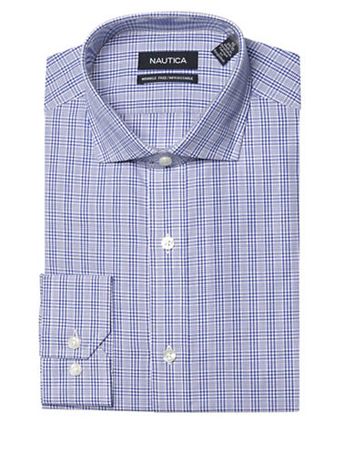Nautica Plaid Wrinkle Free Slim Fit Dress Shirt-BLUE-17-32/33