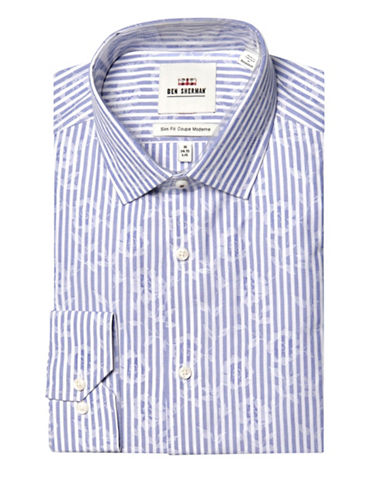 Ben Sherman Striped Wrinkle Free Slim Fit Dress Shirt-BLUE-17.5-34/35