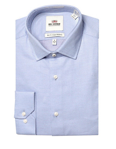 Ben Sherman Diamond Dot Wrinkle Free Slim Fit Dress Shirt-NAVY-17-34/35