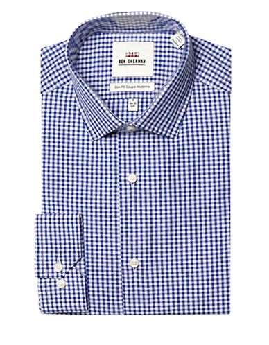 Ben Sherman Dobby Check Wrinkle Free Slim Fit Dress Shirt-ROYAL NAVY-16.5-32/33
