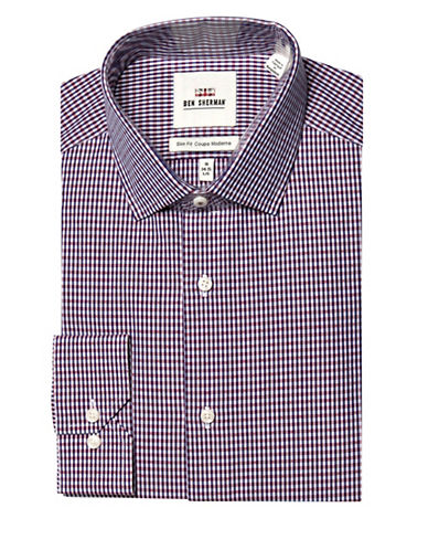 Ben Sherman Gingham Wrinkle Free Slim Fit Dress Shirt-MULTI-COLOURED-16-34/35