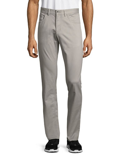 Black Brown 1826 Tailored Fit Twill Pants-GREY-40X32