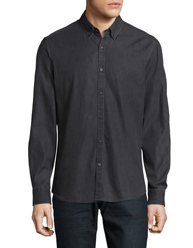 Black Brown 1826 Washed Denim Sport Shirt-CHARCOAL-XX-Large