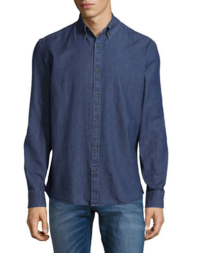 Black Brown 1826 Washed Denim Sport Shirt-BLUE-X-Large