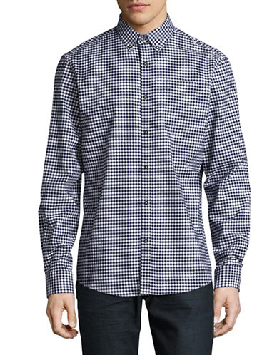 Black Brown 1826 Indigo Dobby Gingham Sport Shirt-BLUE-Large