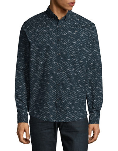 Black Brown 1826 Dot Print Sport Shirt-BLUE-Small