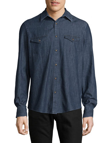 Black Brown 1826 Western Denim Sport Shirt-BLUE-Small