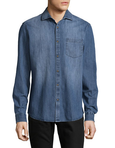 Black Brown 1826 Indigo Chambray Overshirt-BLUE-Large