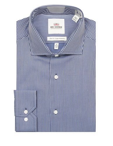 Ben Sherman Dobby Stripe Cotton Dress Shirt-BLUE-15.5-34/35