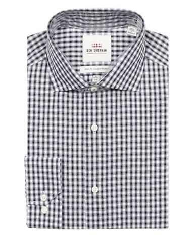 Ben Sherman Dobby Check Cotton Dress Shirt-BLACK/LT.BLUE-16-32/33