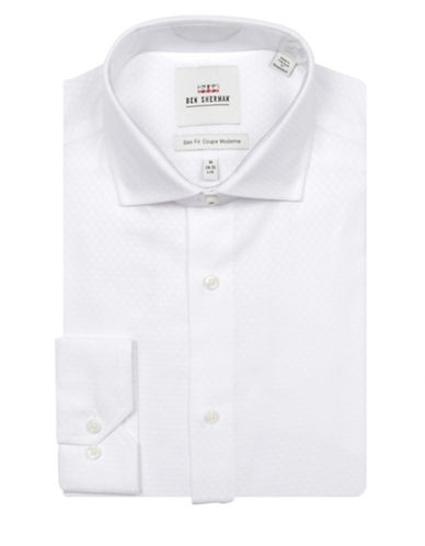 Ben Sherman Diamond Stitch Cotton Dress Shirt-WHITE-16.5-34/35