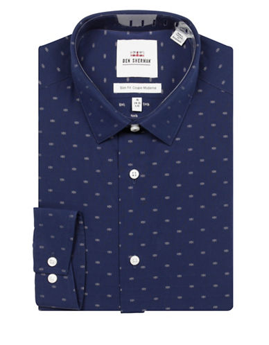 Ben Sherman Printed Cotton Dress Shirt-NAVY-17.5-34/35