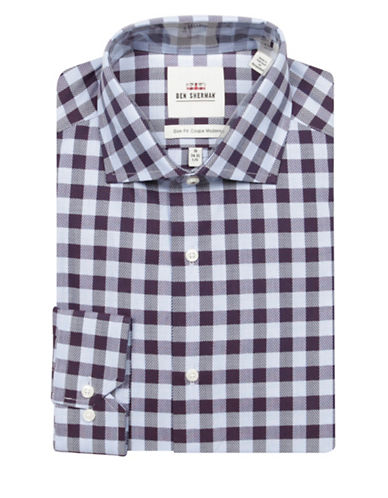 Ben Sherman Checkered Print Cotton Dress Shirt-NAVY-17.5-34/35