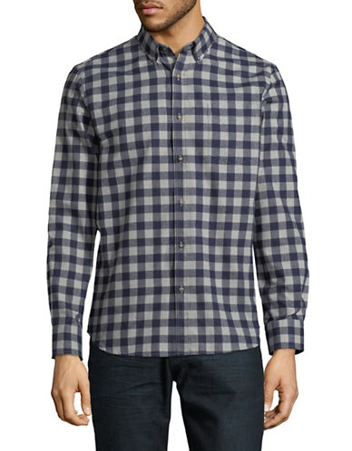 Black Brown 1826 Americana Plaid Sportshirt-INDIGO-XX-Large