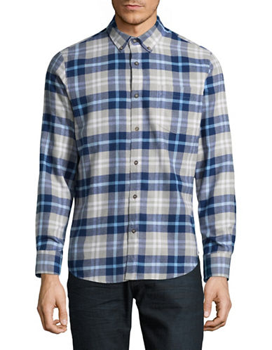Black Brown 1826 Americana Plaid Sportshirt-BLUE-X-Large