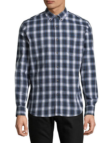 Black Brown 1826 Americana Plaid Sportshirt-BLUE-Large