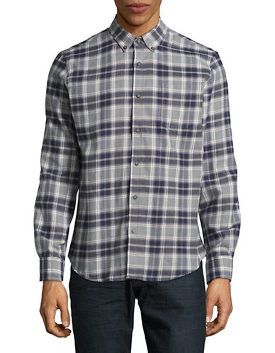 Black Brown 1826 Americana Plaid Sportshirt-GREY-XX-Large