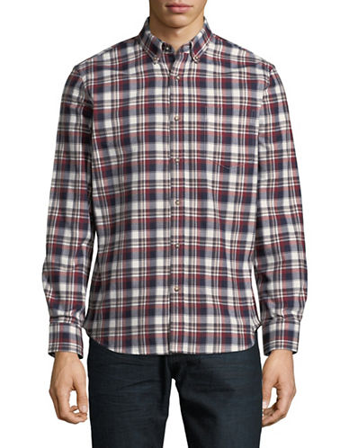 Black Brown 1826 Americana Plaid Sportshirt-LIGHT RED-Small