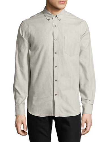 Black Brown 1826 Solid Pique Cotton Sportshirt-BEIGE-Small