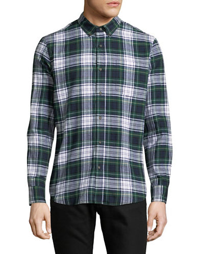 Black Brown 1826 Americana Plaid Sportshirt-GREEN-Medium