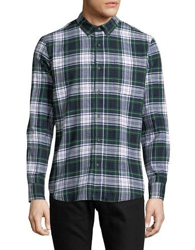 Black Brown 1826 Americana Plaid Sportshirt-GREEN-Small