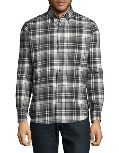 Black Brown 1826 Americana Plaid Sportshirt-GREY-Medium