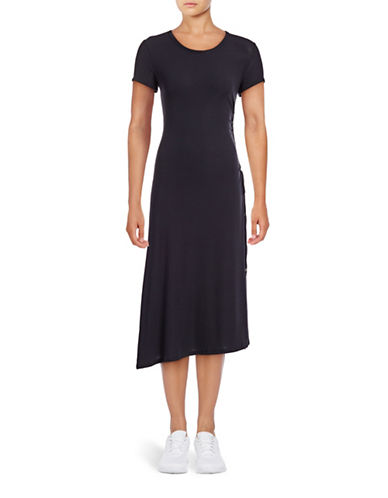 Theory Jilaena Ribbed Side-Tie Dress-BLUE-Small