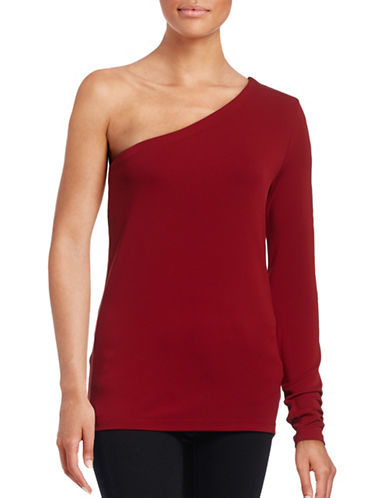 Theory Lefft One-Shoulder Stretch Top-RED-Medium