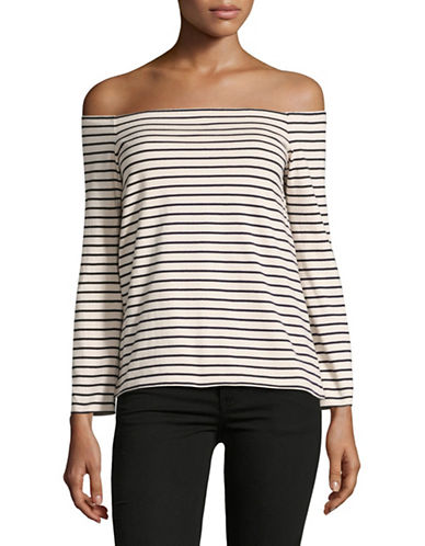 Theory Aprine K Striped Off-Shoulder Top-IVORY-Small
