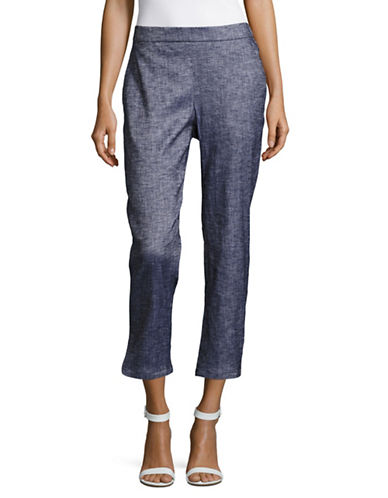 Theory Thorina Linen-Blend Crop Pants-BLUE-00