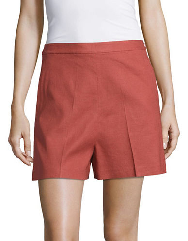 Theory Tarrytown Linen-Blend Shorts-RED-4