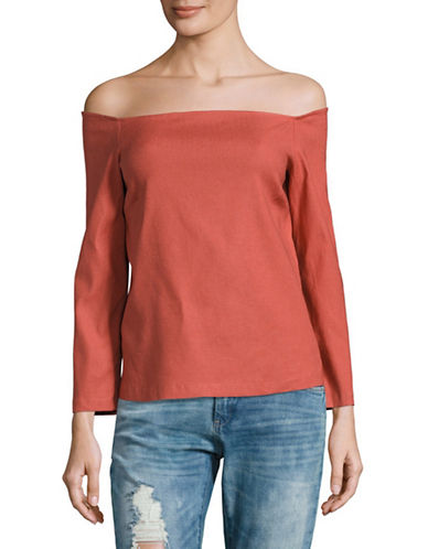 Theory Aprine.New Linen Off-Shoulder Top-RED-Large
