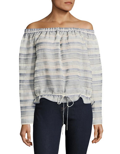 Theory Odettah Striped Off-Shoulder Top-BEIGE-Small