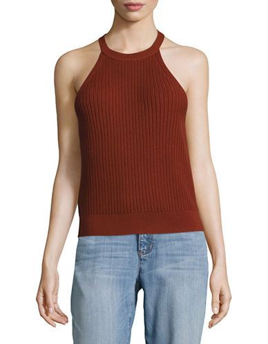 Theory Knit Halter Top-RED-Medium