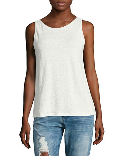Theory Scoop Back Linen Tank-WHITE-X-Small 89179309_WHITE_X-Small
