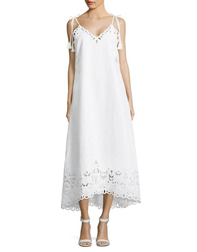Theory Linen Eyelet Maxi Dress-WHITE-8