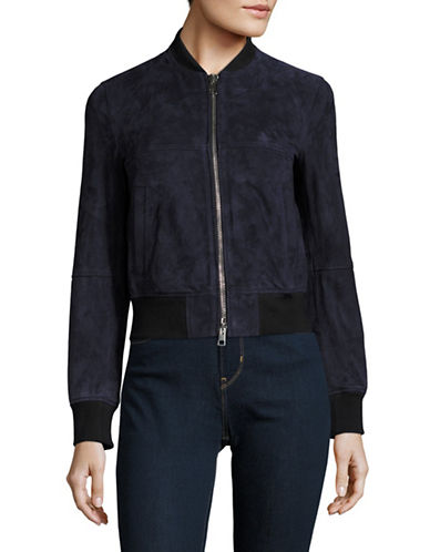Theory Daryette S Suede Bomber Jacket-NAVY-Medium