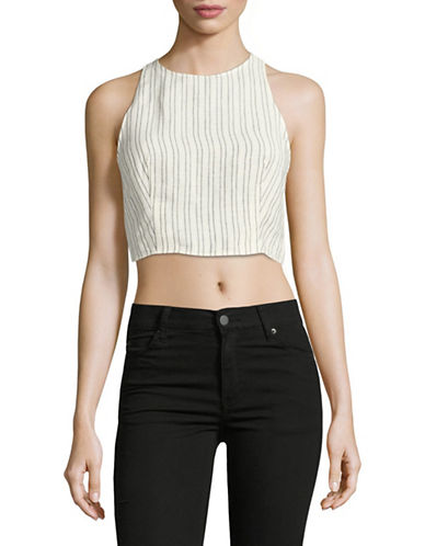 Theory Nikayla Striped Linen Crop Top-WHITE-Large