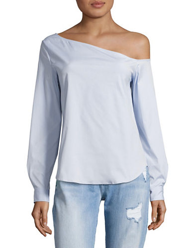 Theory Ulrika Off-Shoulder Blouse-BLUE-Medium