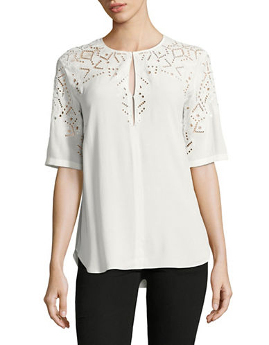 Theory Antazie E2 Ghost Crepe Blouse-IVORY-Medium