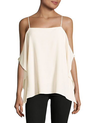 Theory Cold-Shoulder Crepe Top-IVORY-Small