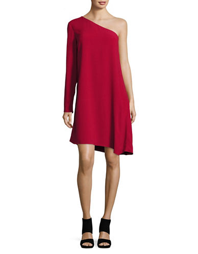 Theory Sintsi One-Sleeve Crepe Dress-RED-10