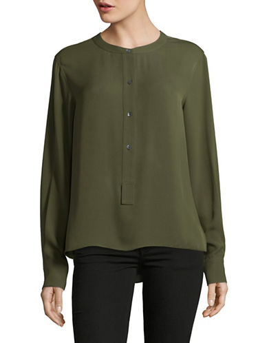 Theory Isalva Silk Blouse-GREEN-Medium