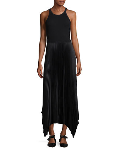 Theory Vinessi Belsay Rib Maxi Dress-BLACK-Large