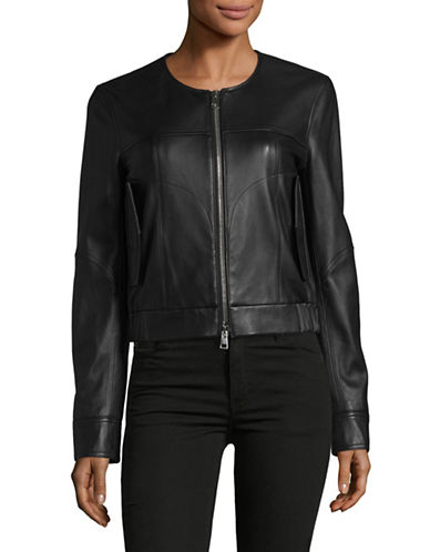 Theory Onorelle Noble Collarless Leather Jacket-BLACK-X-Small
