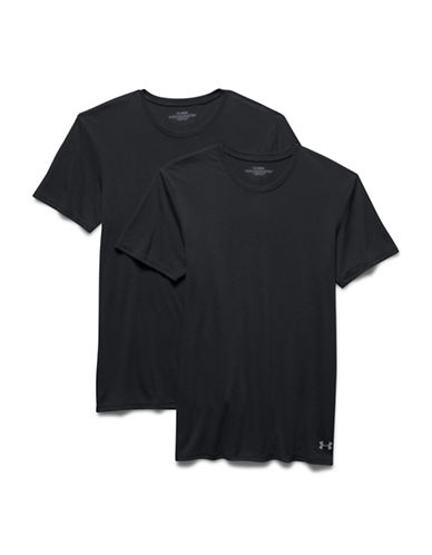 Under Armour Two-Pack Core Crew Undershirts-BLACK/BLACK-Medium