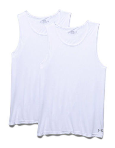 Under Armour Two-Pack Core Undershirts-WHITE/WHITE-X-Large