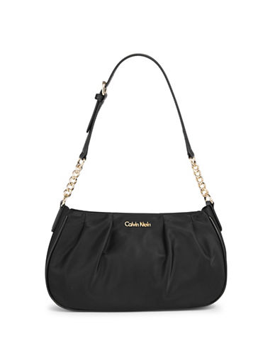 Calvin Klein Florence Nylon Demi Shoulder Bag-BLACK/GOLD-One Size