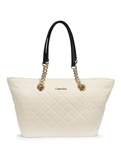 Calvin Klein Florence Nylon Tote-WHITE/BLACK-One Size 87548172_WHITE/BLACK_One Size