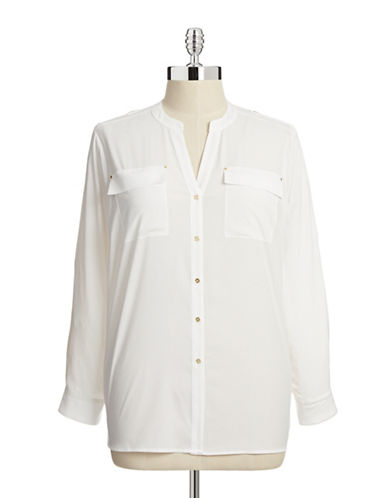 Calvin Klein Plus Roll Tab Sleeve Blouse-WHITE-2X